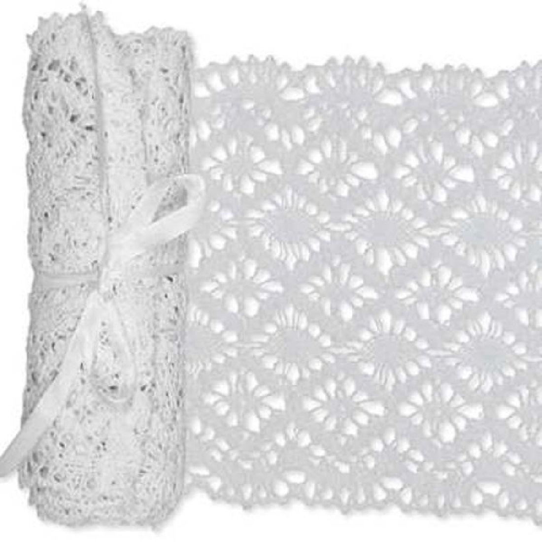 Häkelspitze Tischläufer WEISS 43801 11 B:15cm L:180cm Baumwolle
