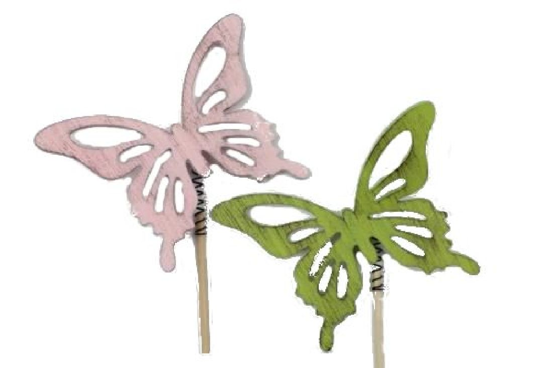 Schmetterling Maguna ROSA-GRUEN 17729 Stecker 7x9cm L:25cm Holz