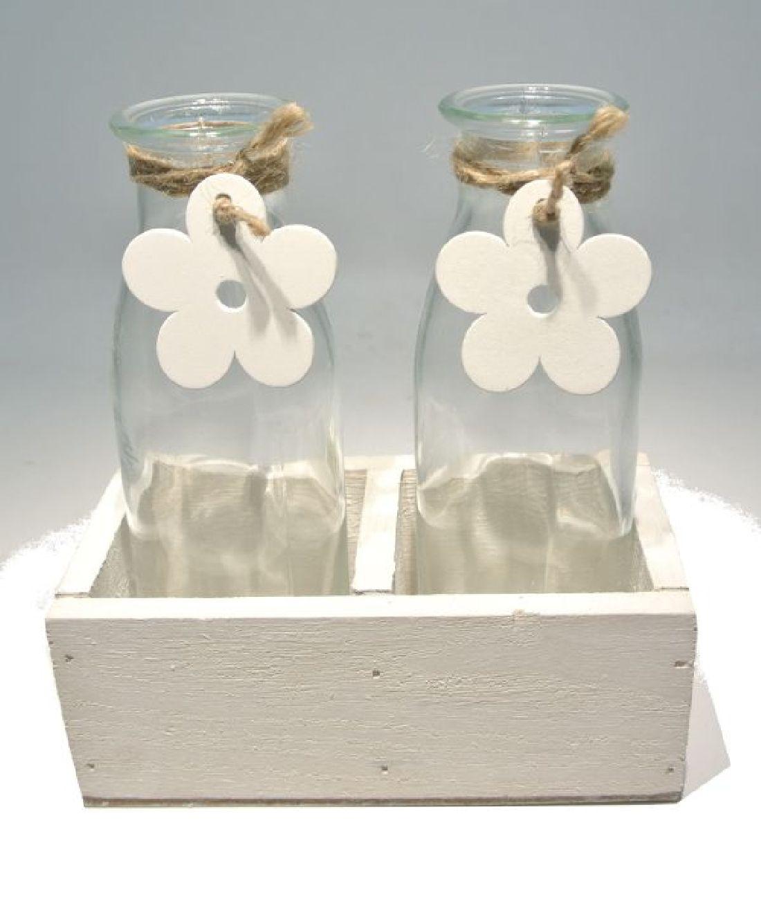 Glasflasche Flower in Holzbox WEISS 17804 2er 13x7xH14,5cm