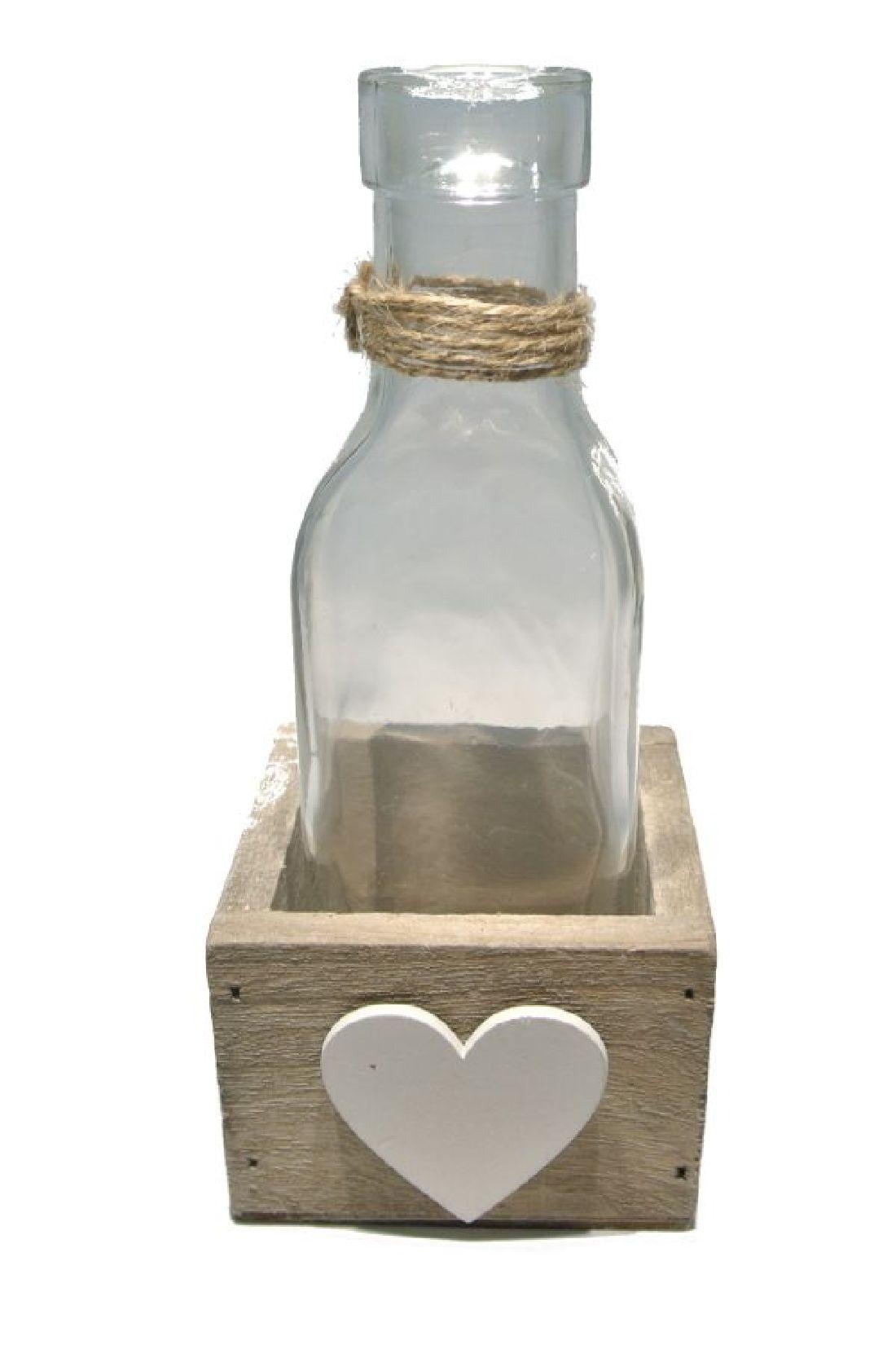 Glasflasche Herzi in Holzbox 17807 NATUR-WEISS 1er 7x7xH16cm