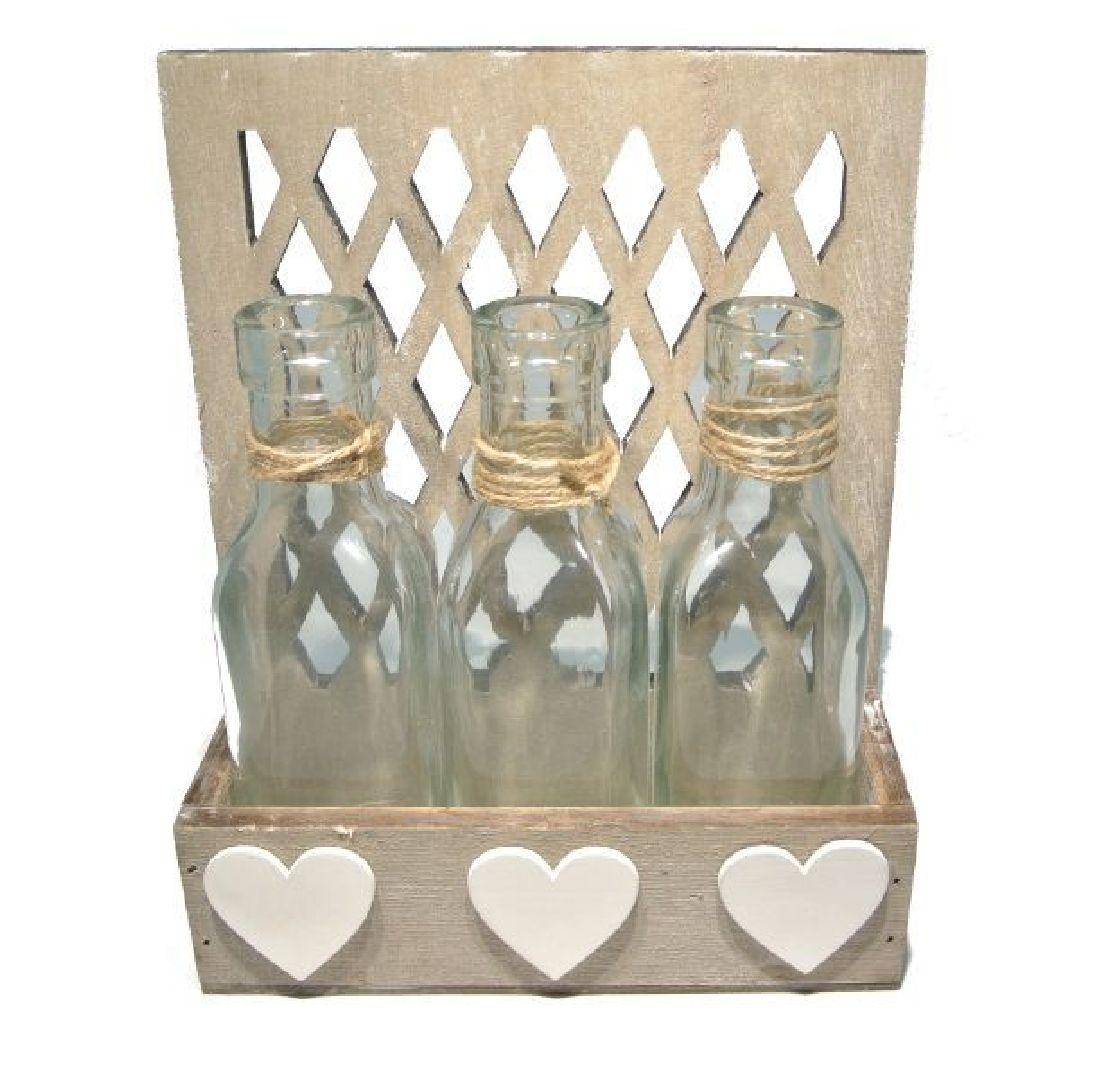 Glasflasche Herzi in Holzbox 17812 NATUR-WEISS 3er mit Wand 17x7xH21cm