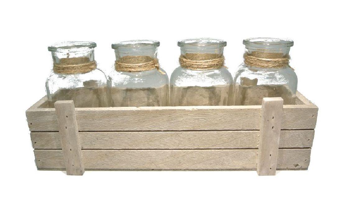 Glasflasche in Holzkiste NATUR 17810 4er 29,5x10,5xH13cm