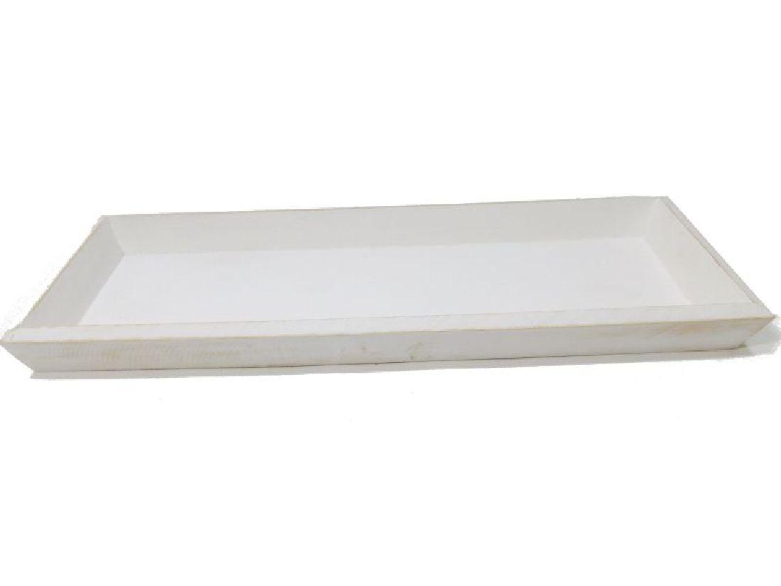 Tablett / Holztablett WEISS 10180 39x15xH2,5cm Dekotablett