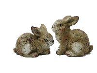 Hase Hoppi / Keramikhase BRAUN 21070 2-fach 14x9cm  H:9,5cm + H:12,5cm