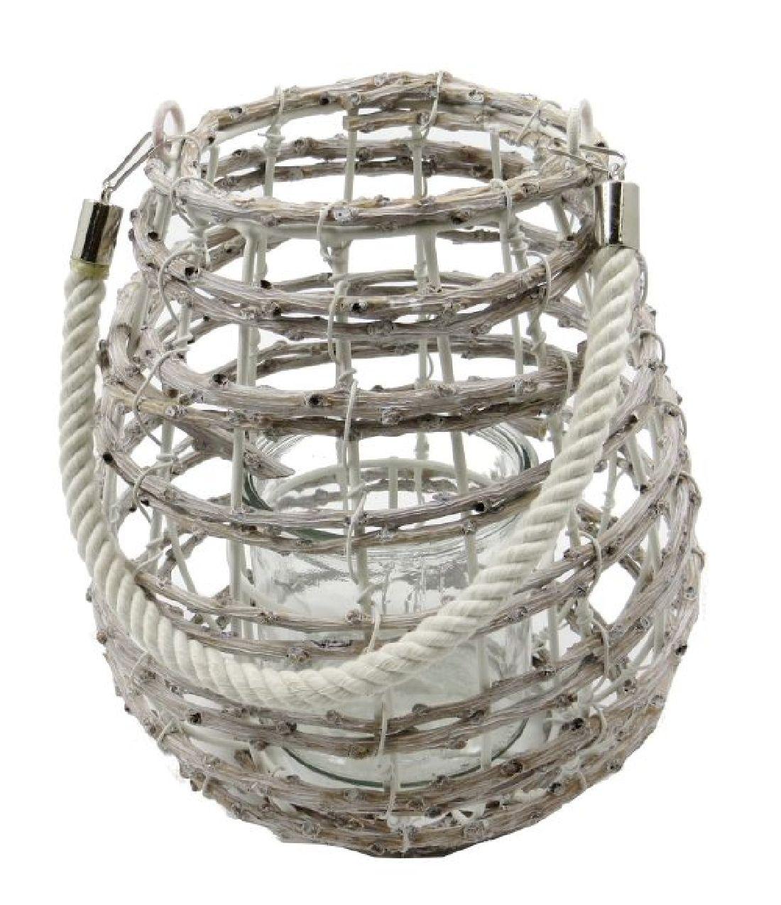 Windlicht Rattan mit Glas GRAU 15926 Ø13cm H:20cm