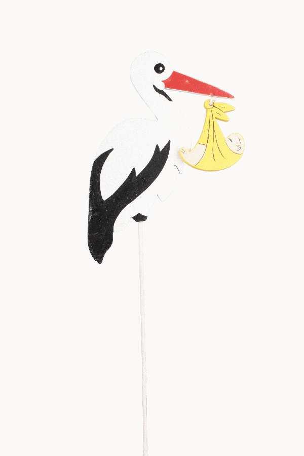 Storch mit Baby am Pick 6475260 SCHWARZ-WEISS B:9cm H:10cm GL:28cm Holz