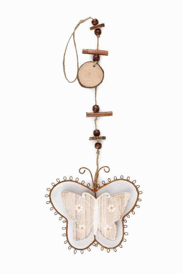 Schmetterling Dekohänger Rusty NATUR 7891204 Holz/Metall B:14cm H:12cm GL:44cm