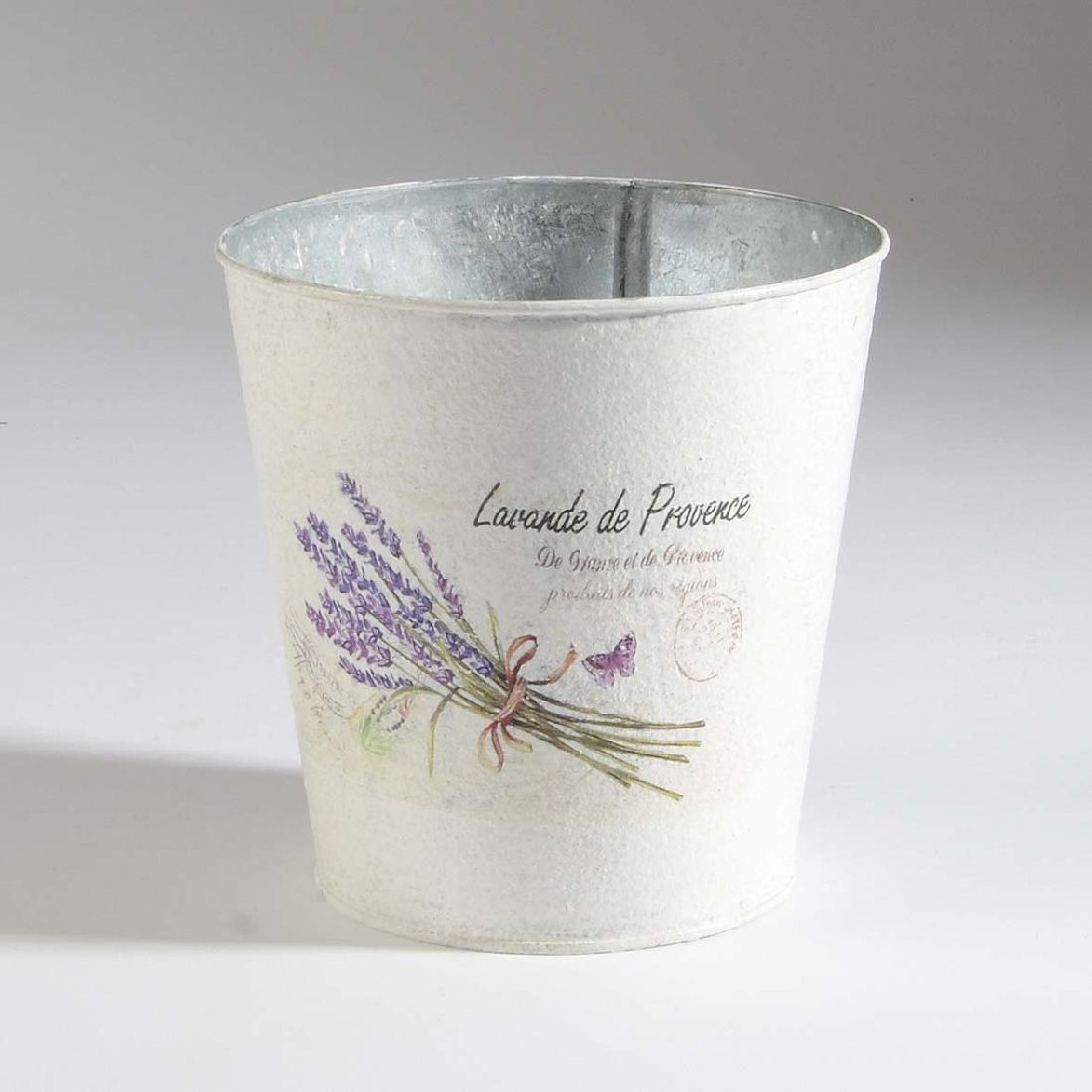 Metall Topf Lavendel WEISS 35612 15x15cm