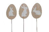 Ei Stecker Rabbit NATUR-WEISS 23979 Holz 22x4x0,6cm mit Hasenaufdruck