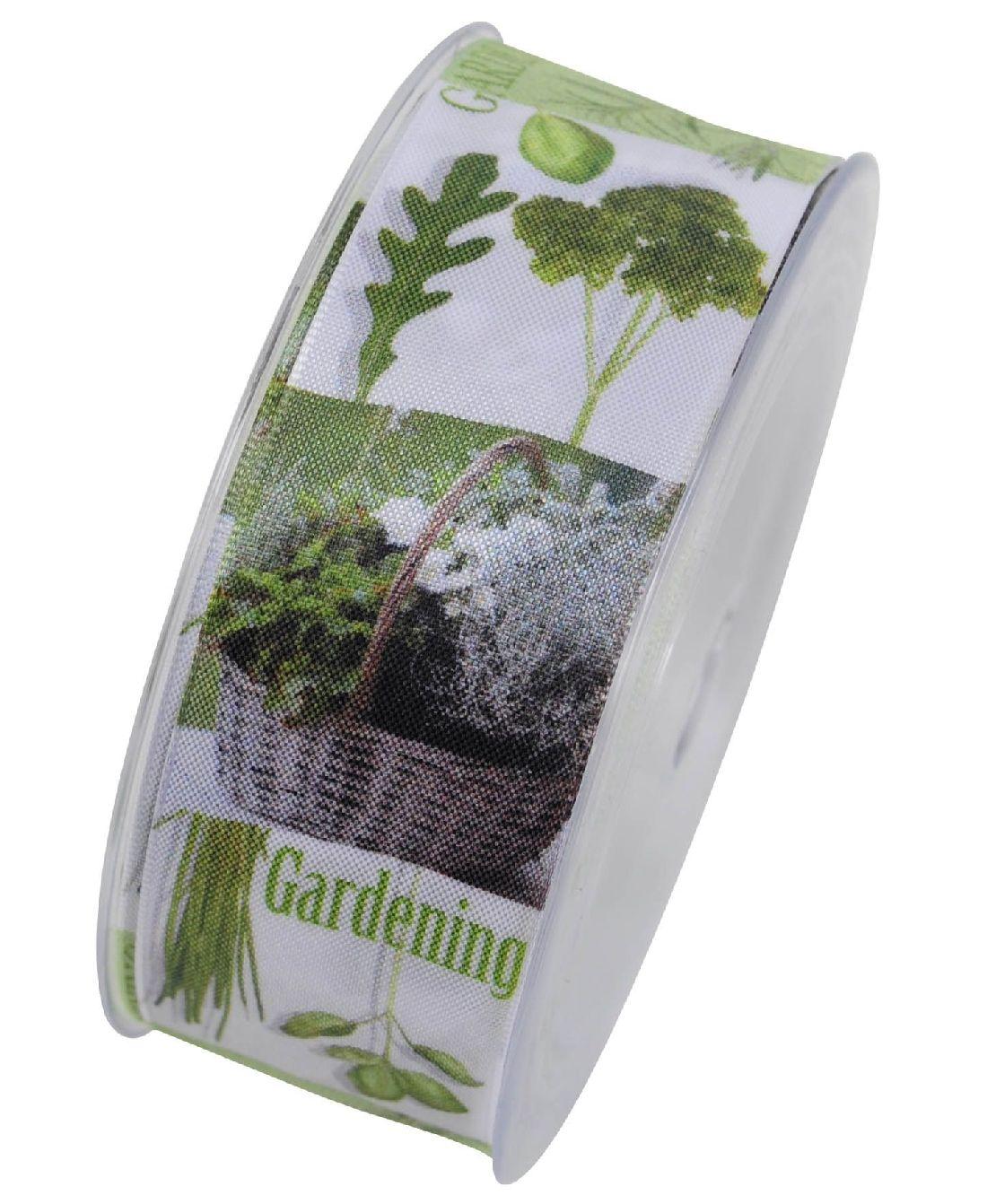 Band Kräuter Gardening GRÜN-WEISS formstabile Kante B:40mm L:15Meter X746