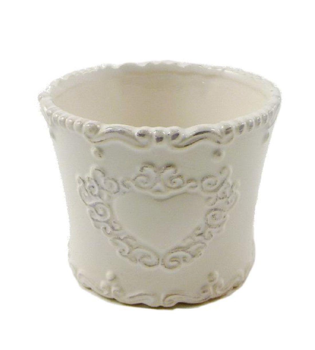 Keramik Topf Sweetheart CREME-GLASIERT rund 10,5x8,5cm 44319