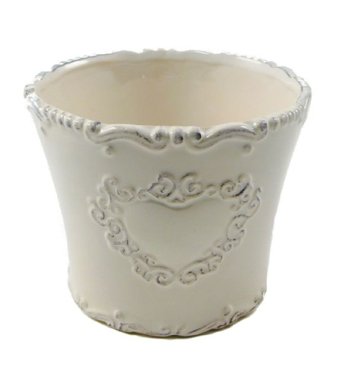 Keramik Topf Sweetheart CREME-GLASIERT rund 13,5x11cm 44321