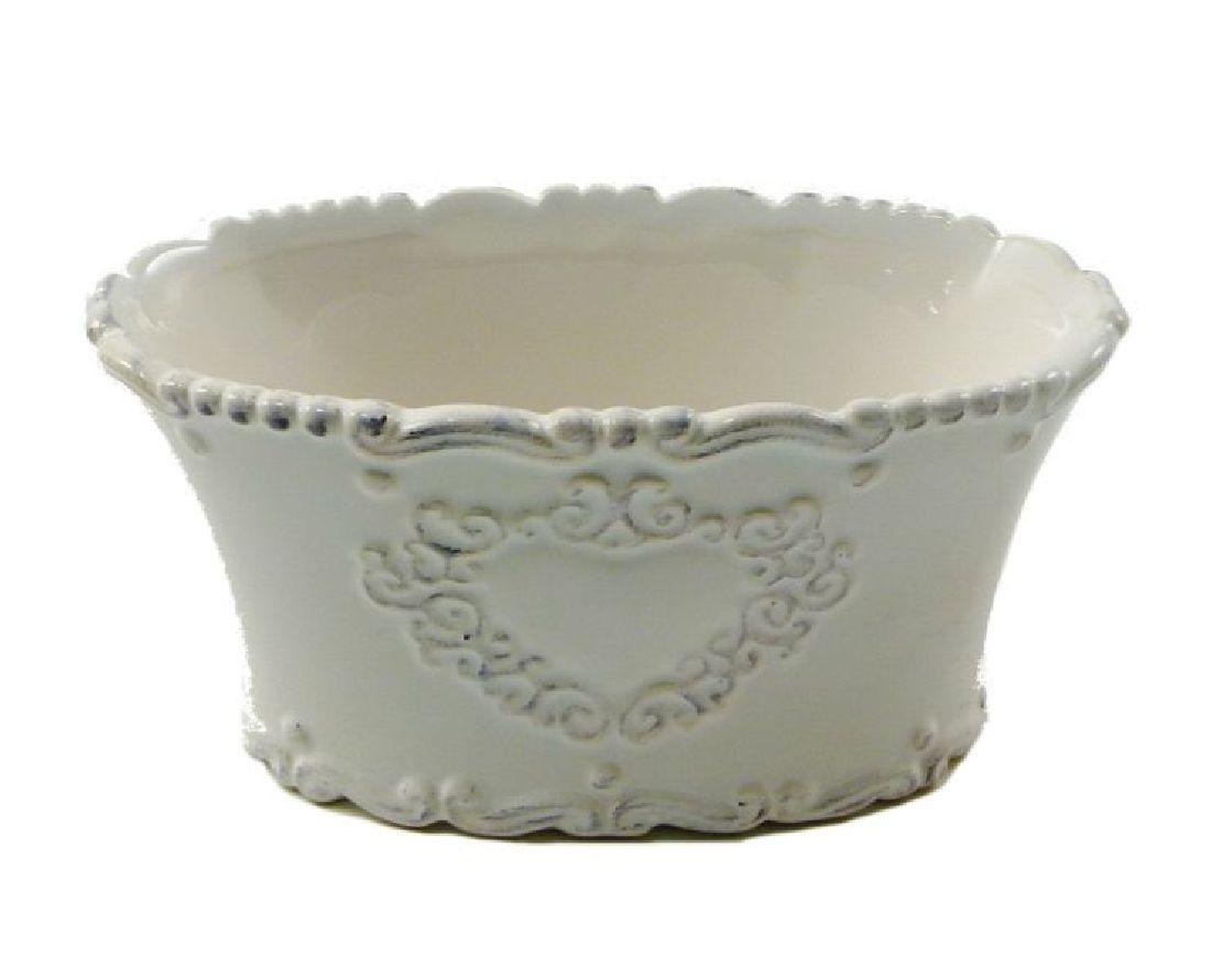 Keramik Topf Sweetheart CREME-GLASIERT 44323 oval 15,5x9,5x8cm