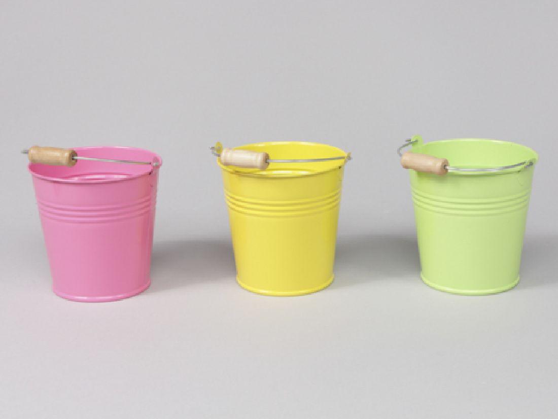 Metalleimer Trio GELB-GRÜN-PINK 3-farbig sort. Ø6,5xH5,5cm 345330