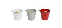 Metalleimer Trio ROT-WEISS-GRAU 3-farbig sort. Ø11xH10,5cm 470841