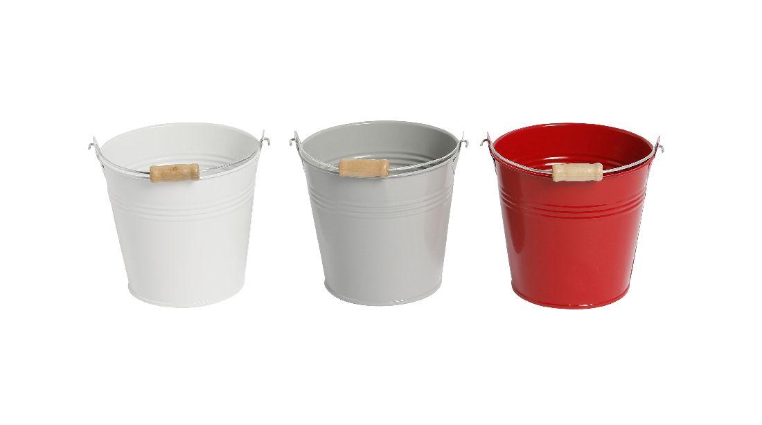 Metalleimer Trio ROT-WEISS-GRAU 3-farbig sort. Ø13,5xH12cm 470841