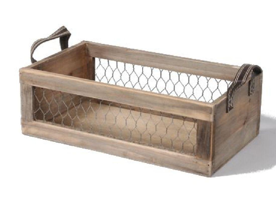 Holzbox mit Kunstledergriffen BRAUN 345015 32x19x10cm mit Maschendraht