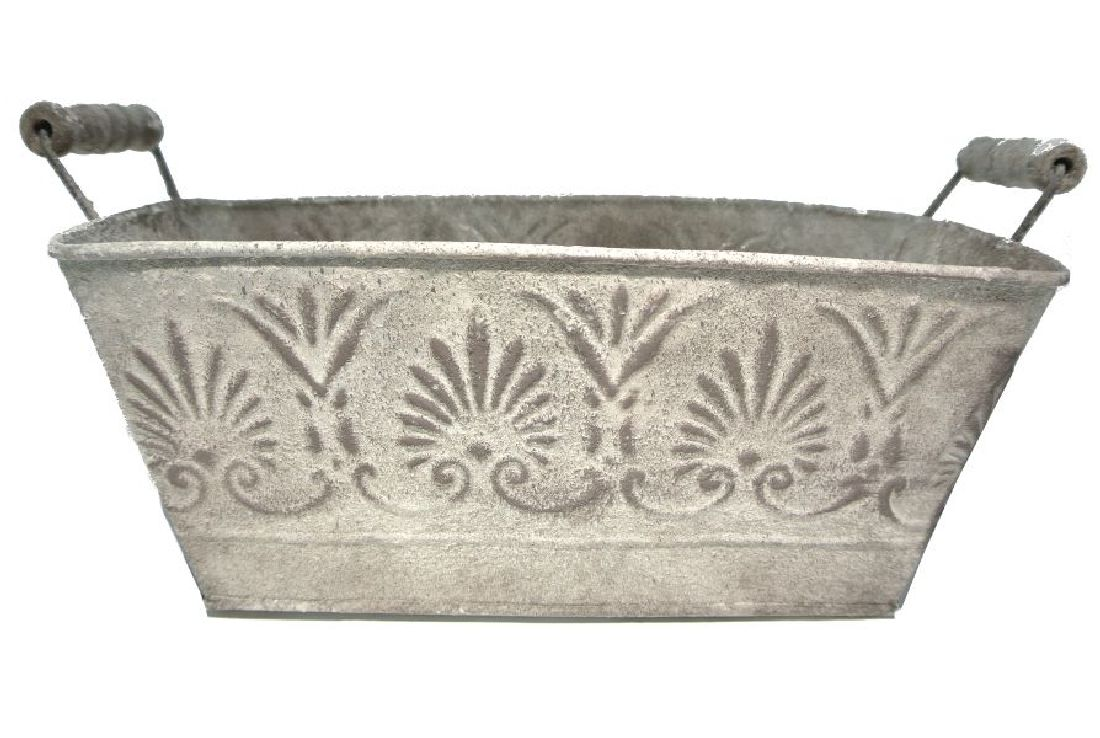 Metall Topf Roma GESANDET-ANTIK eckig L26,5xB15xH12cm 4681