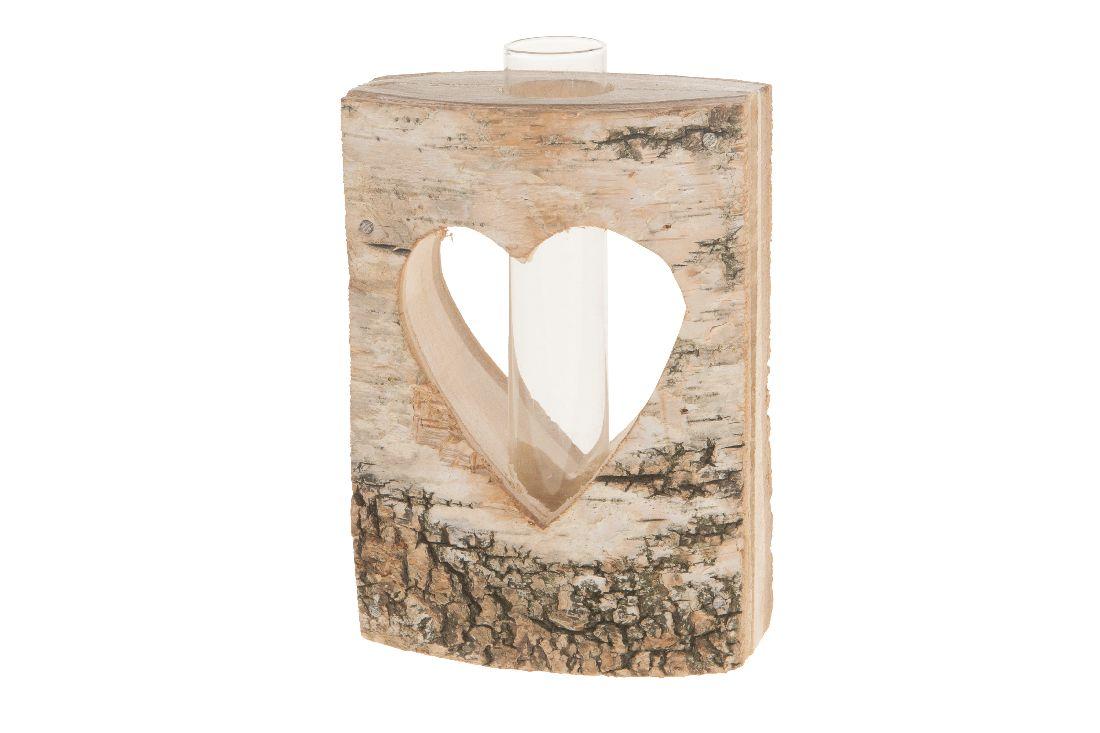 Birkenstamm mit Herz und Glas NATUR 24009 10x5,5x14cm Reagenzglas
