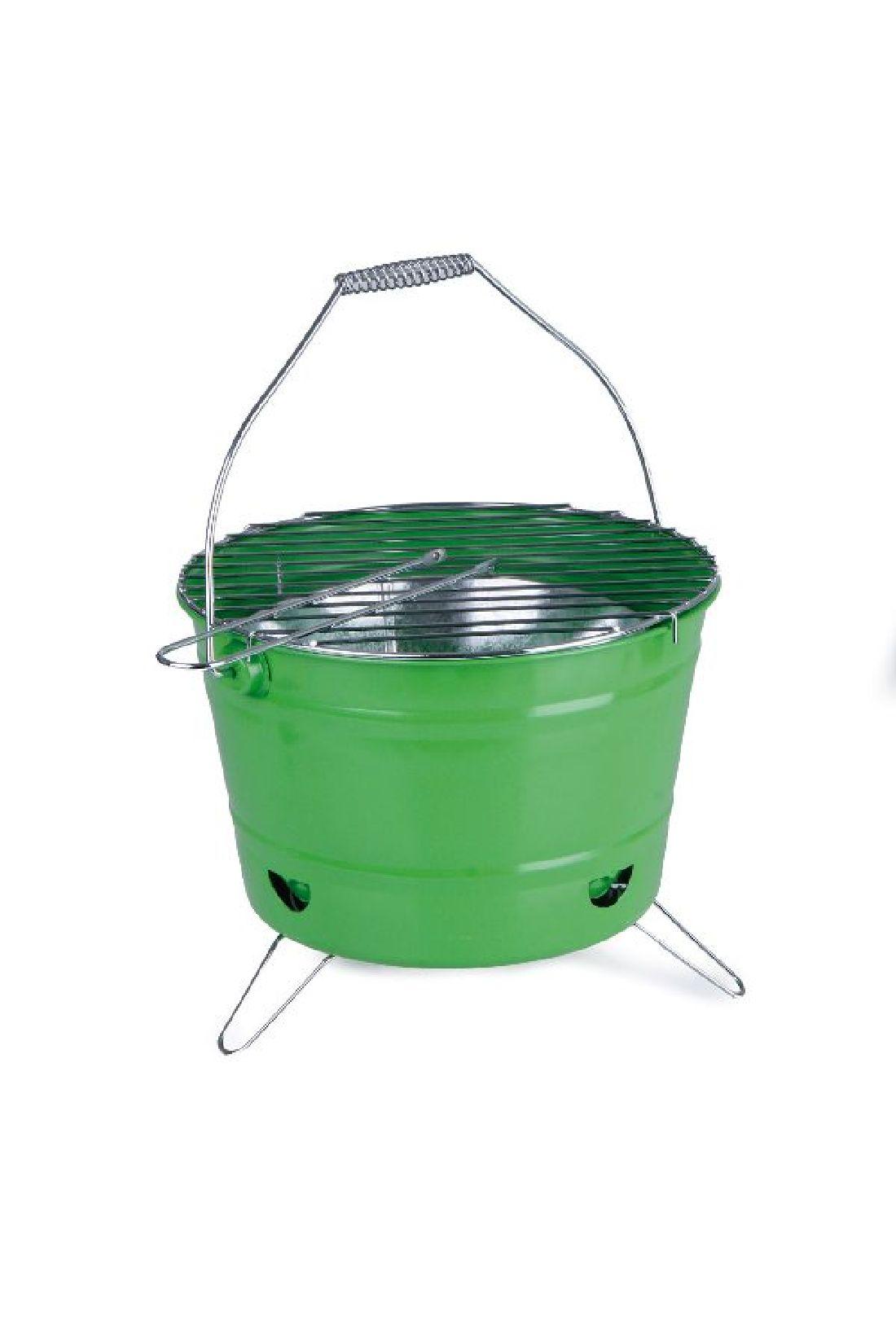 Grill mit Einsatz, Rost,Henkel GRÜN Metall  7425730 B:28cm H:17cm GL:24cm
