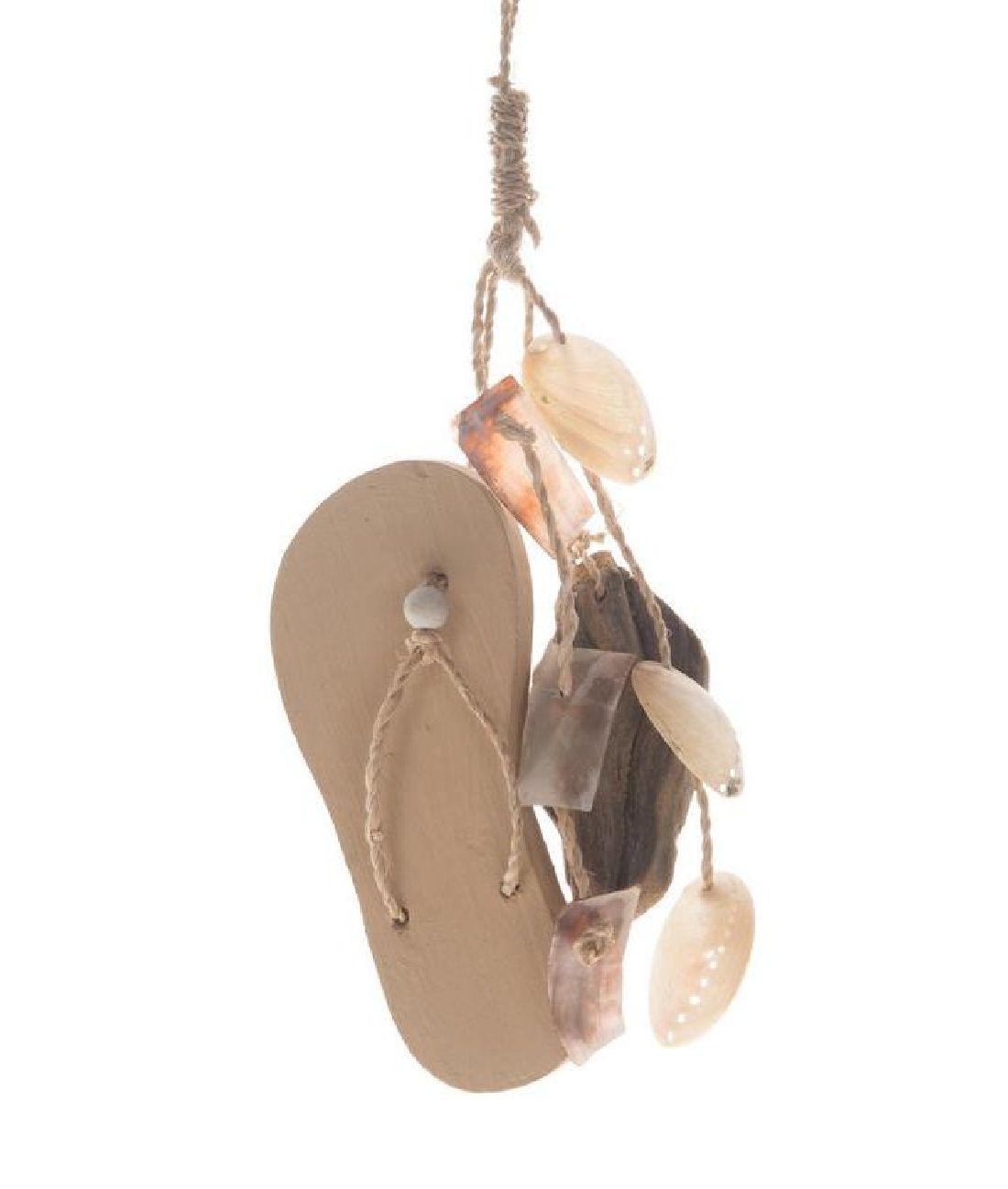 Flip Flop Dekohänger Holzbadeschlappen 24660 L:40cm B:6,5cm  Muscheln und