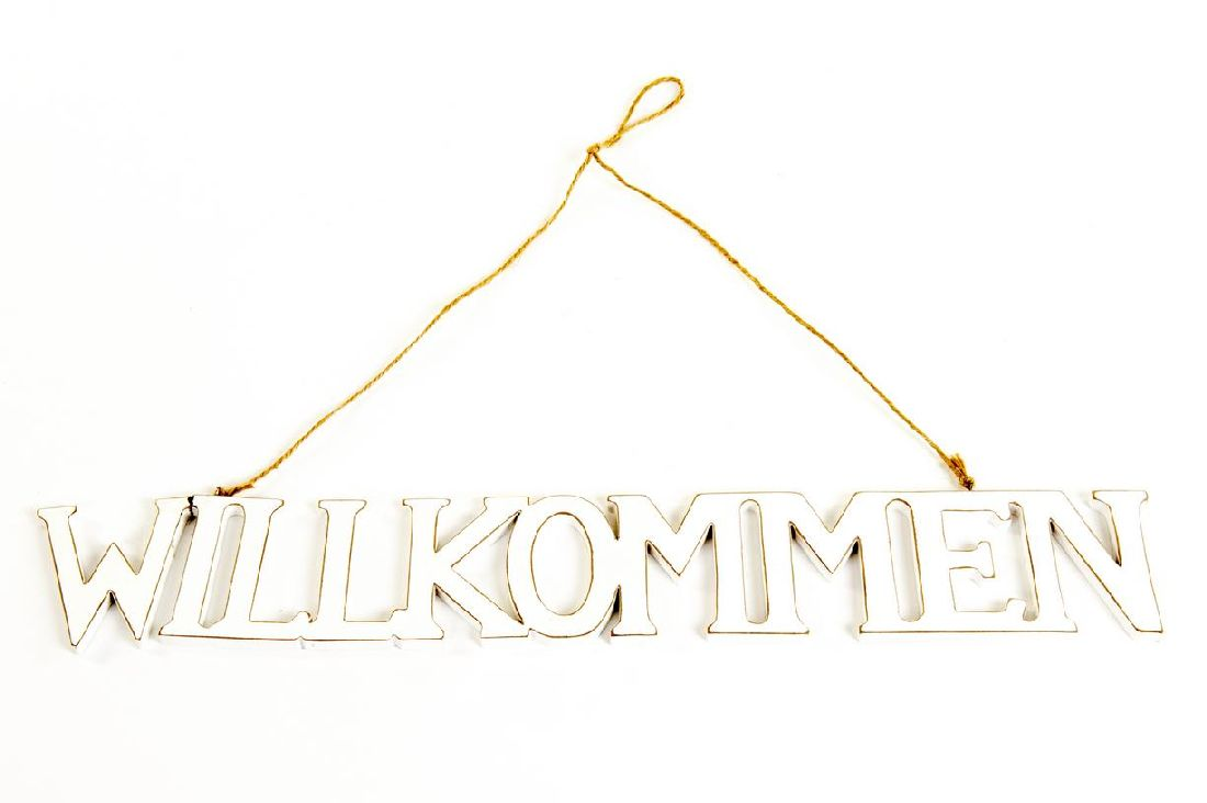 Schild Willkommen WEISS 11771 zum Aufhängen Schriftzug 57x8,5x1cm Holz