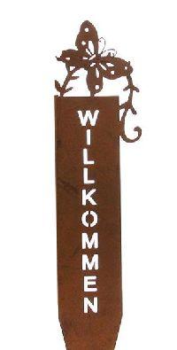 Roststecker Willkommen 480690 Schmetterling 6xH30cm Metall