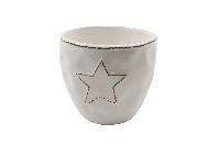 Keramik Topf Sternzauber WEISS-GLASIERT 14x13,5cm 39543