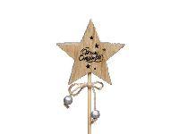 Sternstecker Merry Christmas natur mit silber-glimmer-Rand Ø7,5cm Dicke:1cm   Holz 246226