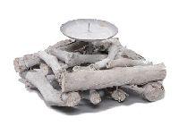 Kerzenhalter Aststücke WHITE WASH 247208 15x15x9cm mit 1 Kerzenteller