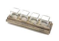 Teelichtglashalter 4 Gläser washed-Optik 22-7490 36x11xH10cm Holz mit Glas