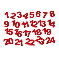 Adventskalender Zahlen Sticker ROT 73564 selbstklebend 1-24 aus Filz 3,5-4cm