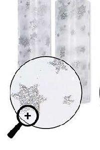 Organza Tischläufer Glitter WEISS-SILBER 15567 Sterne Breite:30cm L=5Meter