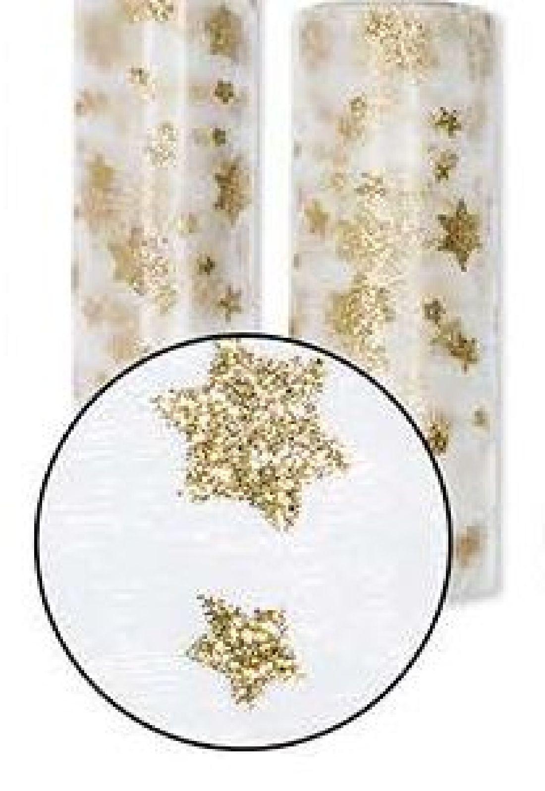 Organza Tischläufer Glitter CREME-GOLD 15567 Sterne Breite:30cm L=5Meter