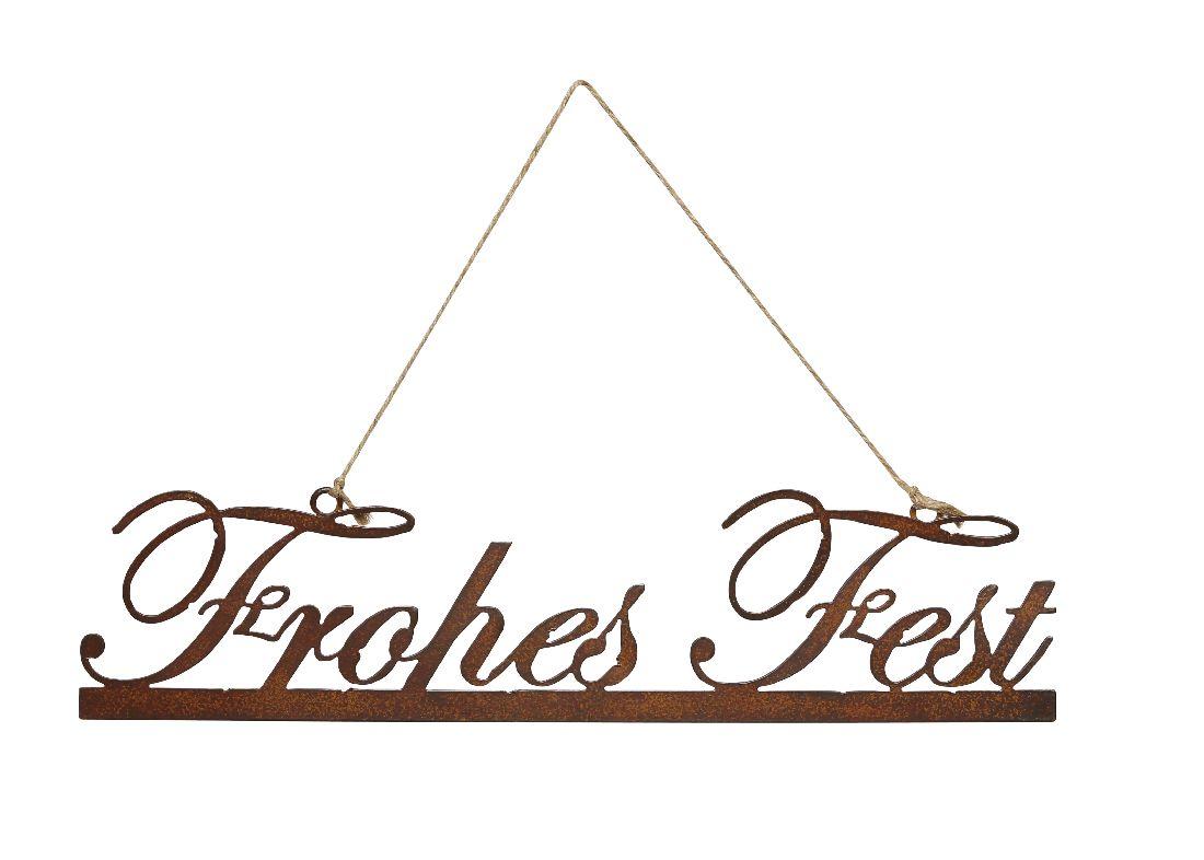 Rostschild Frohes Fest ROST 450252 32xH7,5cm + Hänger