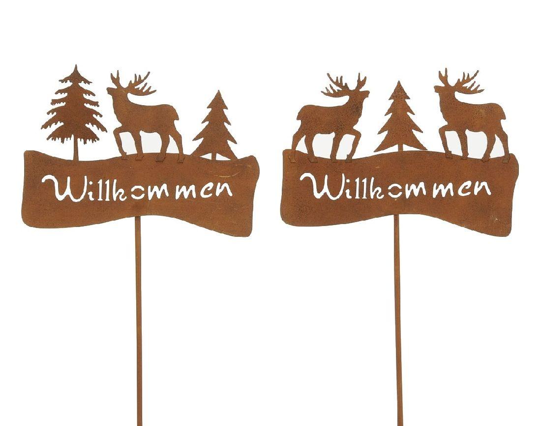 Roststecker Waldleben ROST 490387 Willkommen 20xH14cm + 80cm Stab