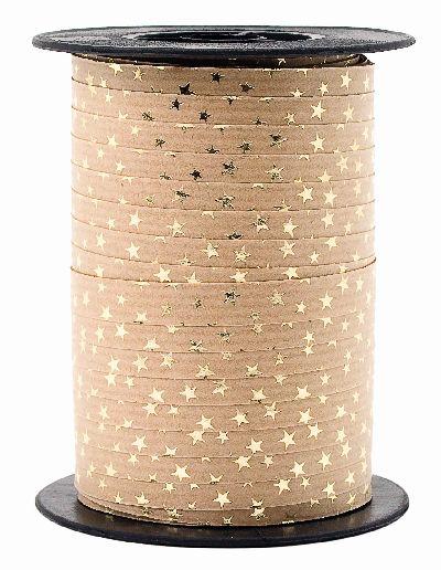 Polyband Spacetime mit Sternen BRAUN-GOLD 15 Ringelband 10mm 100 Meter Ziehband