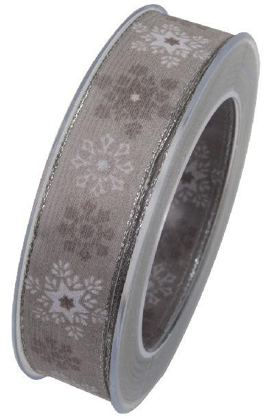 Band Eissterne Weihnachtsband GRAU-BRAUN 72 X821 25mm 20Meter formstabile Kante