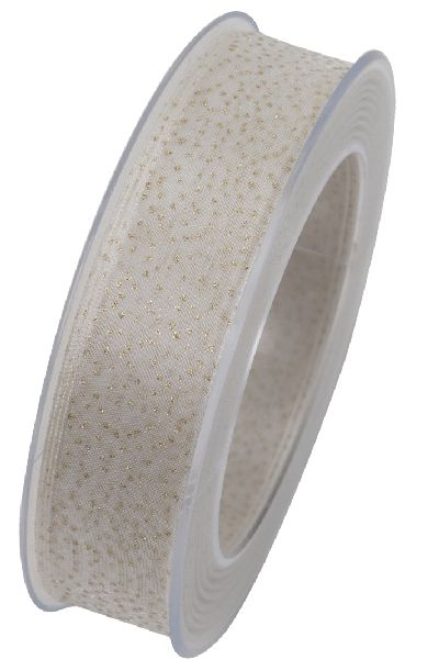 Band Himmelsdach CREME 021 X823 Weihnachtsband 25mm 20Meter formstabile Kante