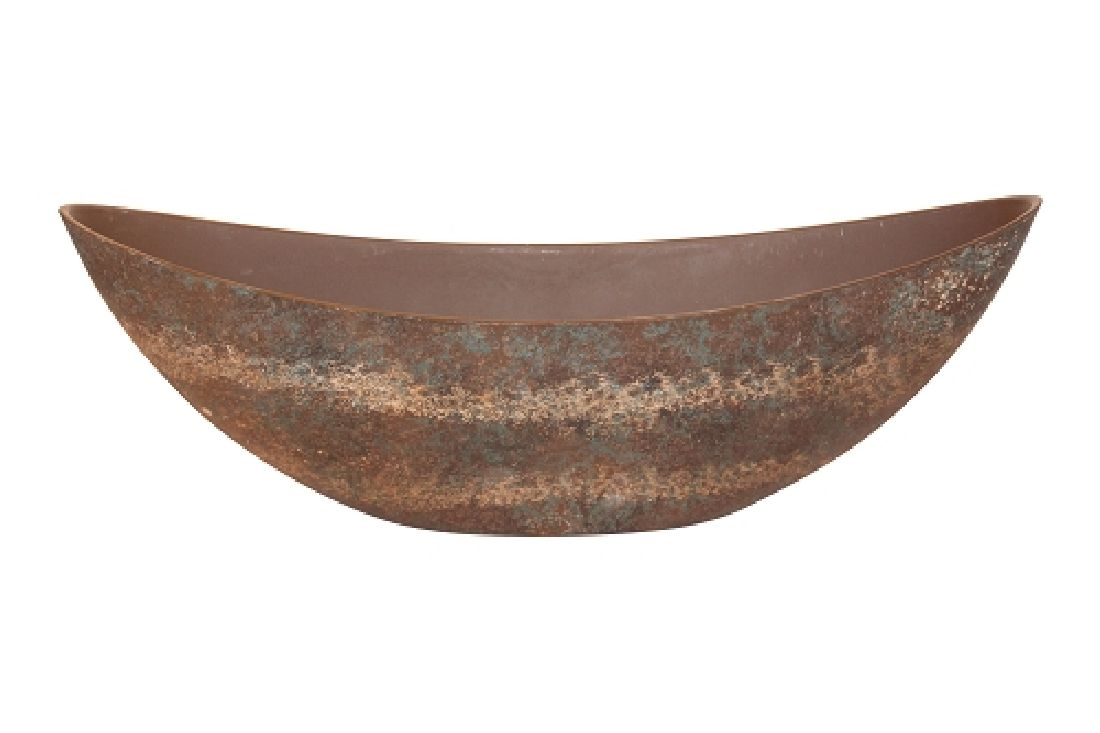 Schiffchen Kunststoff PATINA (ROST) ANTIK lackiert 39x12x13cm  54401039