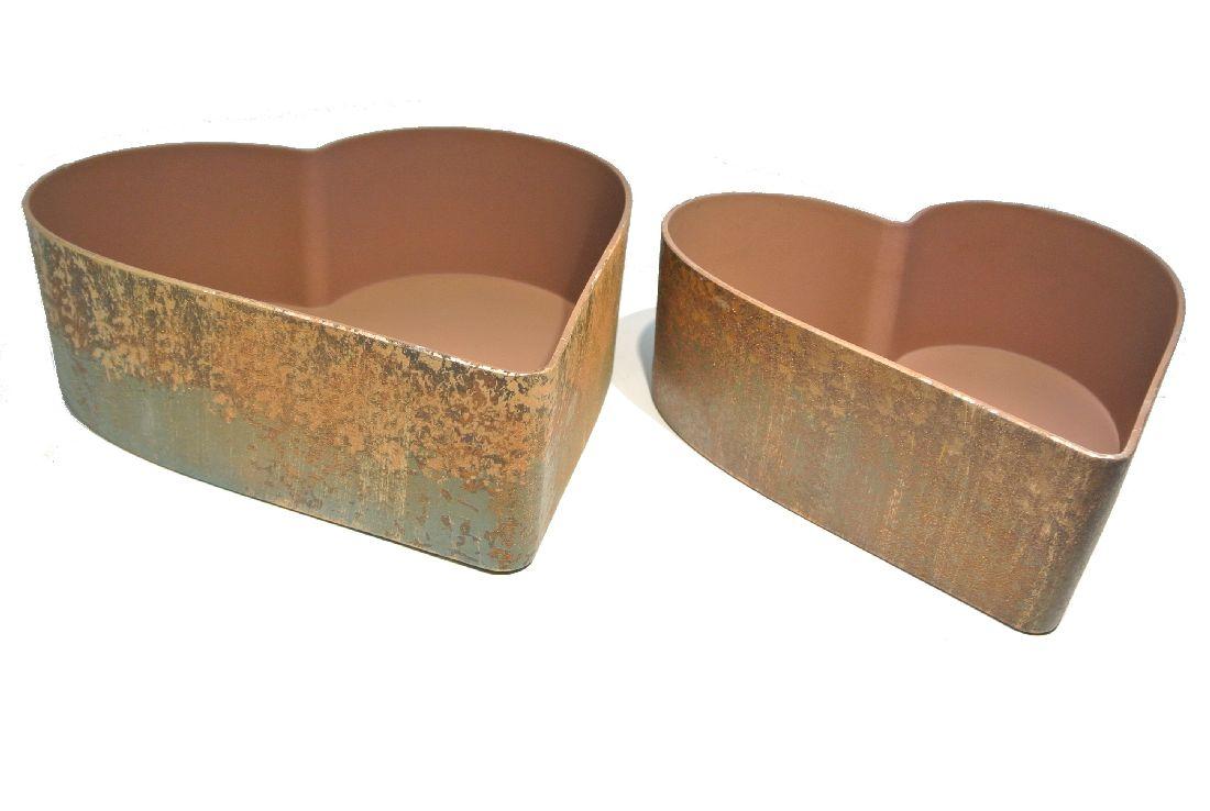 Herz-Schale Kunststoff PATINA (ROST) ANTIK lackiert S/2  22cm+26cm 54406026