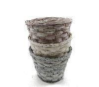 Bambuskorb Vintage GRAU-ROSÈ-BEIGE mit Folie rund 15,5xH12x10cm 10955