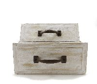 Schublade mit Griff CREME-VINTAGE12754 Holz/Metall S/2 19x12x8cm+23x16x10cm
