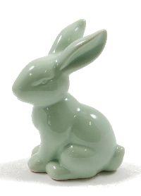 Hase Sweety Keramik MINTGRÜN  GLASIERT 7x5xH10,4cm 39447