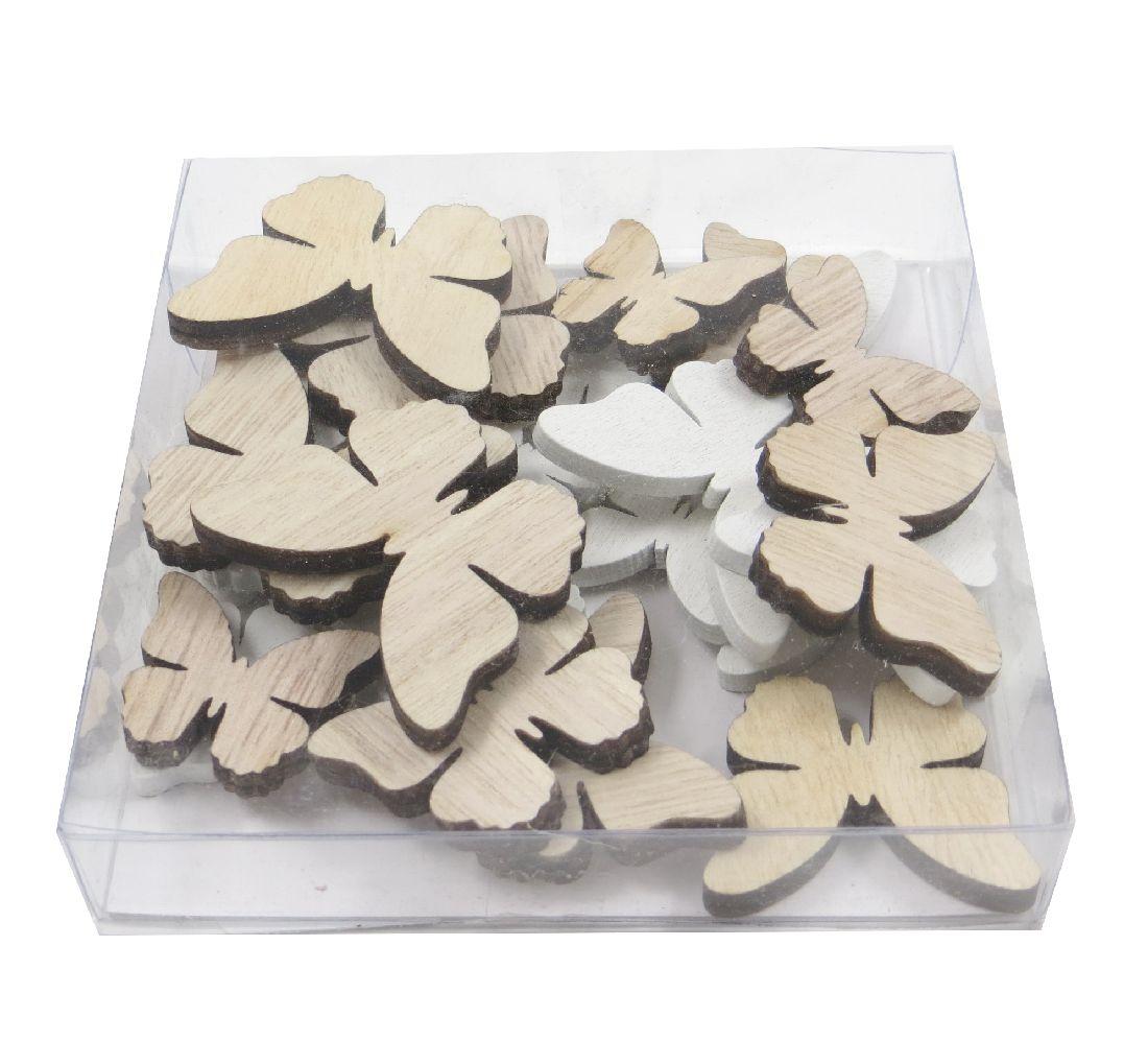Holz Streuteile Naturstyle WEISS-NATUR 60040 Dicke0,5cm Schmetterlinge 2,5cm+3,5cm+4cm