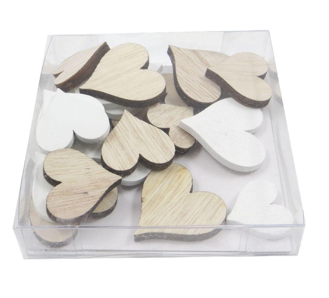 Holz Streuteile Naturstyle WEISS-NATUR 60041 Dicke0,5cm Herzen 2,5cm+3cm+3,5cm