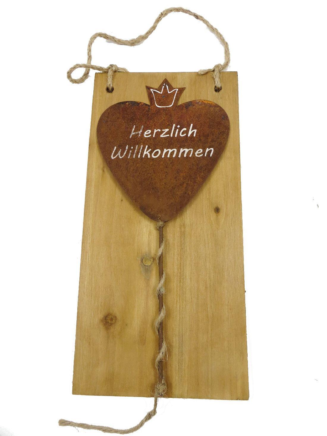 Holzschild mit Rostherz 61540 weiße Schrift 17x34,5cm Herzlich Willkommen