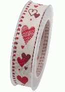 Herzband Sommerliebe mit Draht ROT X914 20 B:25mm L:20m mit Drahtkante