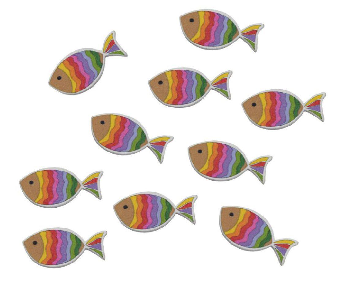 Regenbogen-Fisch Streu Regenbogenfisch 80301 36Stück 3,5x1,2x0,3cm Holzfisch