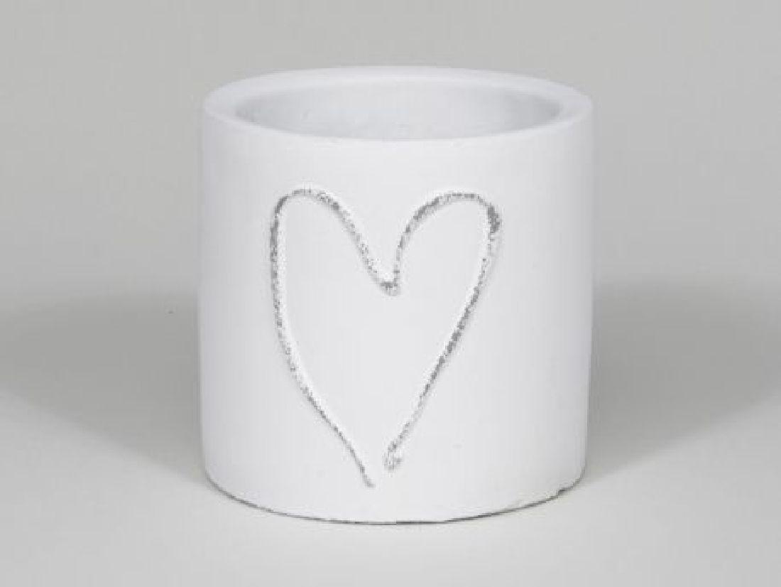 Topf Heartbeat WEISS 349206 Ø15x15cm Zement
